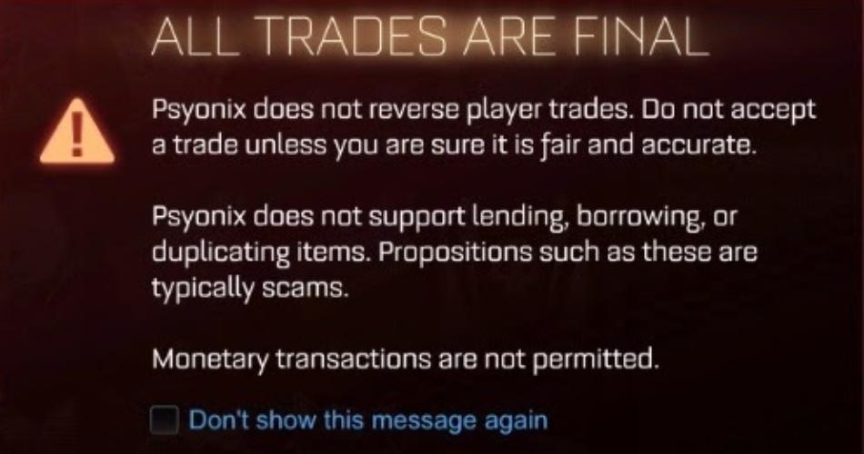 Trade Warning Rocket League